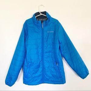 Columbia kids Omni-heat blue full zip jacket Sz M
